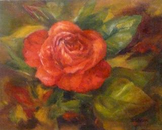 Favored Rose Oil Painting Still Life Art Flowers Botanical Floral
