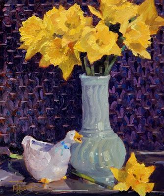 """Daffy Duck"" Still life painting by Robin Weiss"