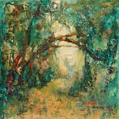 "Contemporary Landscape Painting, Mixed Media, Trees, Fine Art For Sale, ""IN SOLITUDE, GRATITUDE EXPRESSED"" By Passionate Purposeful Painter Holly Hunter Berry"