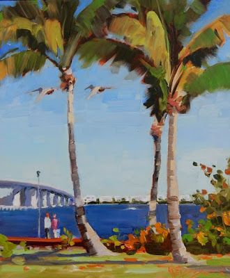 """Palms and Pelicans"" plein air oil painting by Robin Weiss"