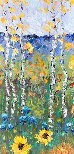 "Palette Knife Aspen Tree Impressionist Landscape Painting ""Pike's Peak Sunflowers II"" by Colorado Impressionist Judith Babcock"