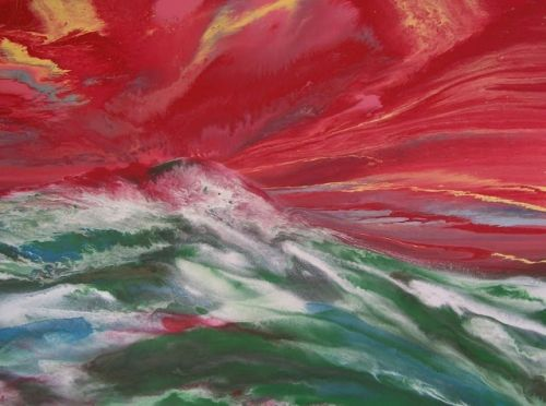 """Contemporary Abstract Seascape Painting, A Sailor's Tale """"Red Sky Warning"""" 40""""x30""""x1.5"""" by Colorado Contemporary Artist Kimberly Conrad"""