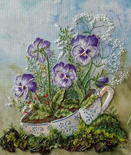Whimsical Gardens Grow From Silk Teacups and Mossy Patches in Rosa Andreeva's Embroideries