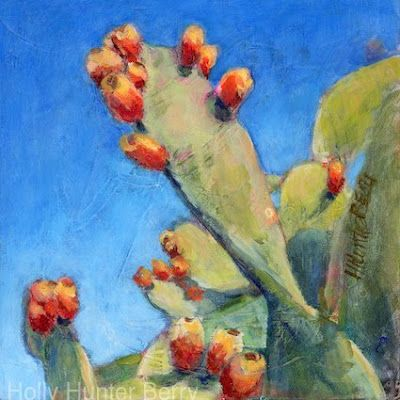 "Cactus, Still Life Painting, Fine Art For Sale, ""Don't Stop Reaching"" By Passionate Purposeful Painter Holly Hunter Berry"