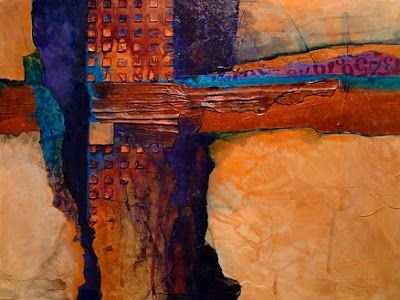 "Contemporary Art, Abstract Mixed Media Painting ""TUCSON "" by Colorado Artist Carol Nelson"