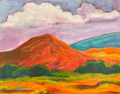 "Ghost Ranch, Colorful Expressionist Landscape Painting ""Last Red Hill"" by Santa Fe Artist Annie O'Brien Gonzales"