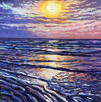 Oracio del Sol - NEW vivid beach sunrise oil painting - thick impasto with cool blue and violent tones contrasted against intense yellow, orange and pink colors