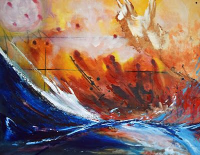 "Original Contemporary Seascape Painting ""Lost at Sea"" by International Contemporary Seascape Artist Arrachme"