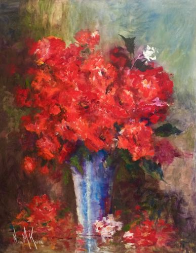 """Roses In Blue Vase"" by Artist, NORA KASTEN"