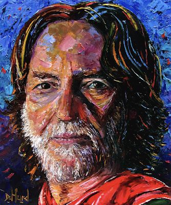 "Palette Knife Musician Art Portrait Oil Painting, Willie Nelson ""Willie"" by Texas Artist Debra Hurd"