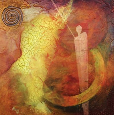"Original Contemporary Abstract Mixed Media Mystical Figure, Circles Art Painting ""Nebula 1:Other Worlds"" by Contemporary Arizona Artist Pat Stacy"
