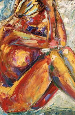 """Abstract Female Nude Painting,Palette Knife Figure """"The Pose 2"""" by Texas Artist Debra Hurd"""