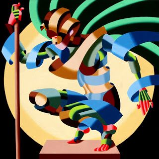 Mark Webster - Felicia 1424 Abstract Geometric Futurism Figurative Oil Painting