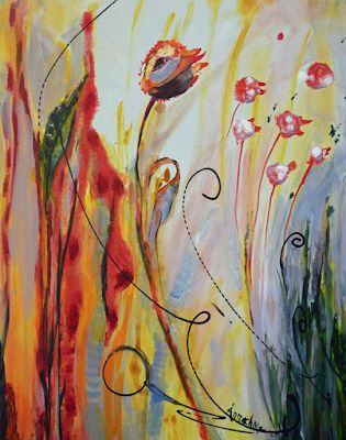 "Abstract Environmental Art, Flower Painting ""Bright Future"" by International Contemporary Abstract Artist Arrachme"