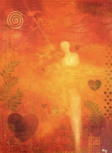 "Abstract Art, Mystical Figure, Mixed Media ""Heart Full of Love"" by Contemporary Arizona Artist Pat Stacy"
