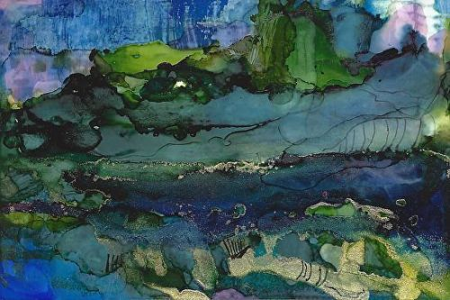 "Original Contemporary Abstract Mixed Media, Alcohol Ink Painting ""TAHITI"" by Contemporary Artist Lou Jordan"