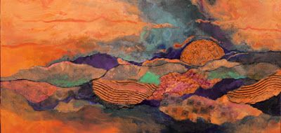 "Mixed media abstract landscape, ""Arizona Sky"" © Carol Nelson Fine Art"