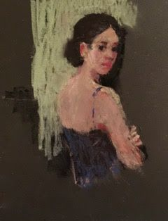 On My Easel - oil pastel portrait sketch of a ballet dancer looking over her shoulder