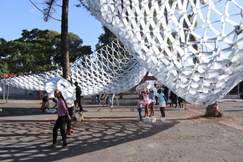 South Africa's Waste to Wonder Pavilion Transforms Public Space with Upcycled Trash