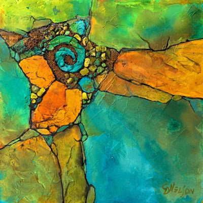 """Mixed Media Geologic Abstract Painting, Contemporary Art, """"Nature Gems"""" © Carol Nelson Fine Art"""