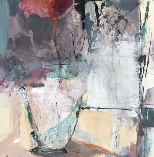 """Still Life, Flower Painting,Contemporary Abstract Art Painting, """"Growing Passion"""" by Intuitive Artist Joan Fullerton"""
