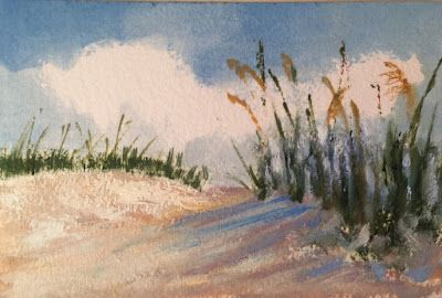 """Miniature Oil Painting, """"Mini Sea Oats,"""" by Amy Whitehouse"""