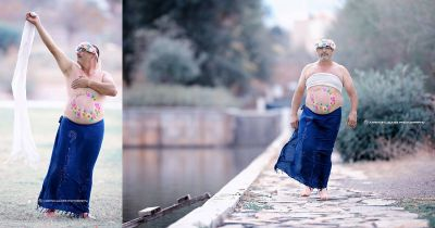 Dad Poses for Hilarious Maternity Shoot Parody, Nails It