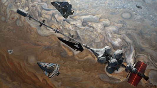 Wells-class interplanetary vehicle with space drones by Sergio Botero