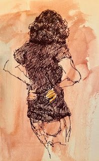 Studying the Situation - original ink figurative drawing