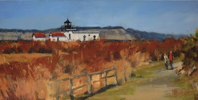"""Point no Point Lighthouse"" plein air landscape painting by Robin Weiss"