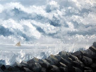 Mark Webster - Stormy Weather - Ocean Landscape Grayscale Oil Painting