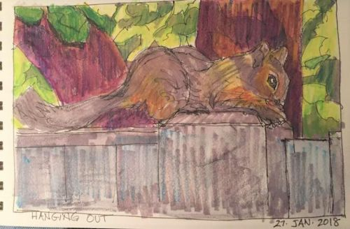 """Day 117 """"Hanging Out"""" 6 x 9 mixed"""