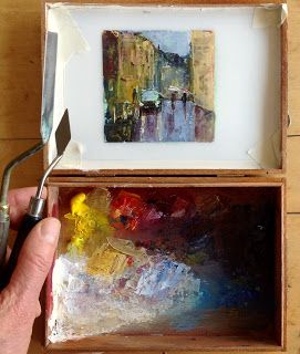 Urban sketching with oil paint