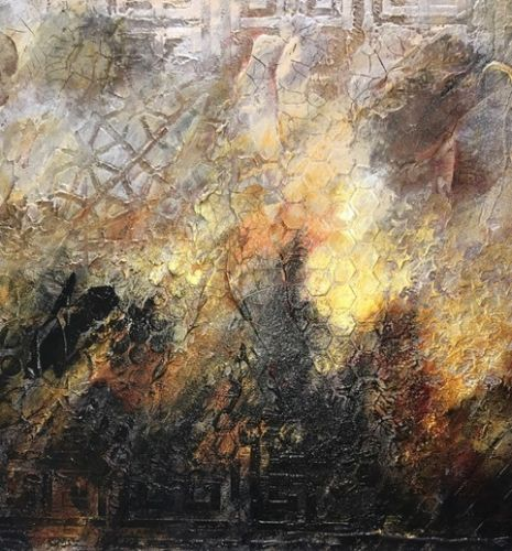 "Contemporary Art, Abstract Painting, Expressionism, Mixed Media, ""Timeworn-II"" by Contemporary Artist Liz Thoresen"