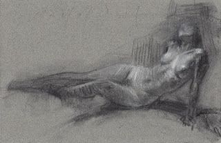 """The Idealist"" reclining nude model"