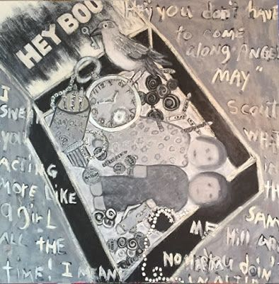 "Abstract , Folk Art,Black and White,Narrative Art Painting, ""Hey Boo"" Narrative Art by Santa Fe Aritst Judi Goolsby"