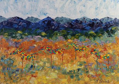 "Original Palette Knife Landscape Painting With Horses ""Colorful Quartet"" by Colorado Impressionist Judith Babcock"