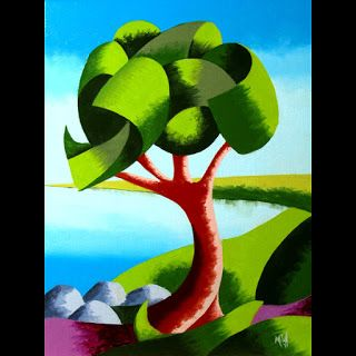 Mark Webster - Abstract Geometric Oak Tree Lake Landscape Oil Painting