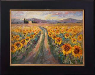 """Walking in Sunshine"" Palette Knife Sunflower Painting by Niki Gulley"