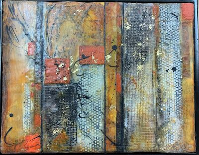 "Encaustic Abstract Art, Mixed Media, Contemporary Painting, ""Variations"" by Texas Contemporary Artist Sharon Whisnand"