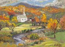 Palette Knife Oil Painting of Stowe, VT by Niki Gulley