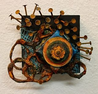 "Mixed Media Mini Wall Sculpture ""C5"" by Colorado Mixed Media Abstract Artist Carol Nelson"