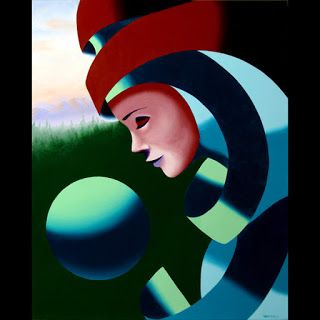 Mark Webster - Eos - Abstract Mask Oil Painting with Sphere