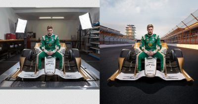 Creating Composite Photos of IndyCar Drivers and Cars