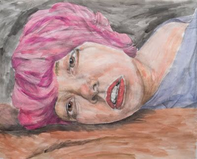 Appropriated Self Portrait in Graphite & Watercolor