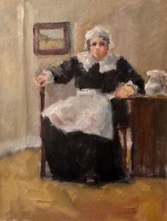 Seated on a Stool - figurative oil painting of a woman