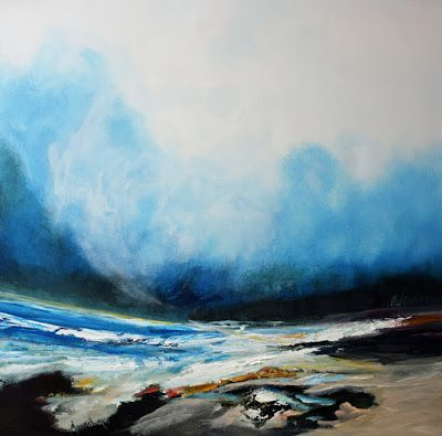 "Original Contemporary Landscape Painting, ""The Blue Moon"" by Abstract Realism Artist Arrachme"