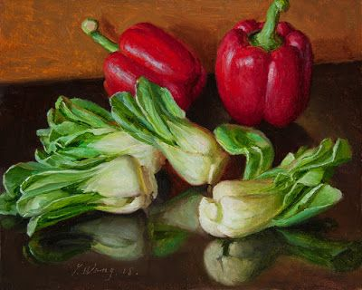 Bell peppers and bok choy still life painting vegetable daily painting a day