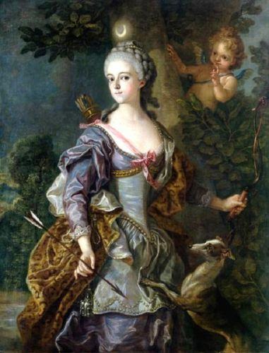 1765 Allegory of Diana Goddess of the Hunt with faithful Dogs