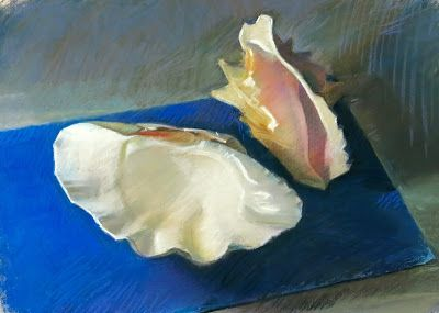 Two Shells on Blue Paper